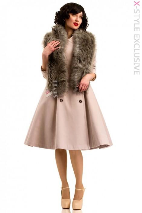 Пальто в стиле Ретро с меховой горжеткой (114042)