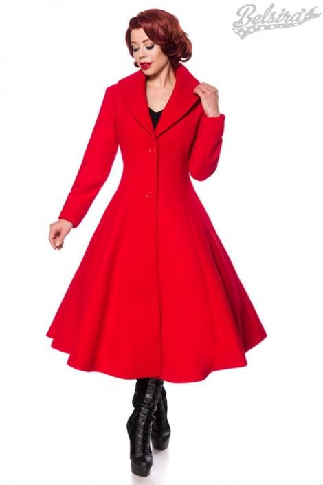 Приталенное длинное шерстяное пальто B4047 (114047)