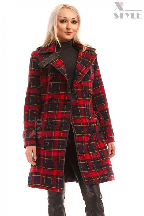 Пальто зимове жіноче в клітку X5049 купити недорого в Києві 5dee079373c24