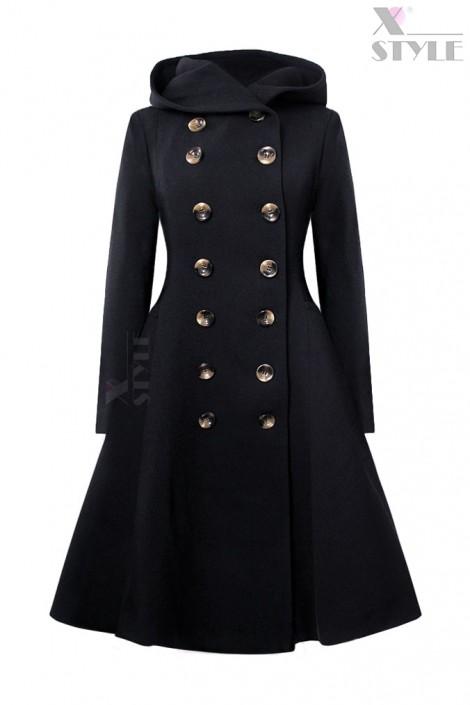 Пальто зимнее с капюшоном (100% шерсть) (115052-2)