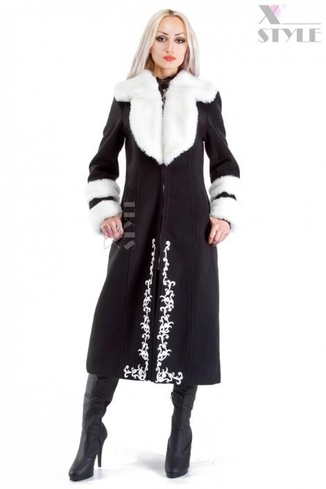 Зимнее пальто с мехом и вышивкой Xstyle (115067)