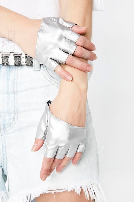 Серебристые перчатки без пальцев XT1177 (601177)