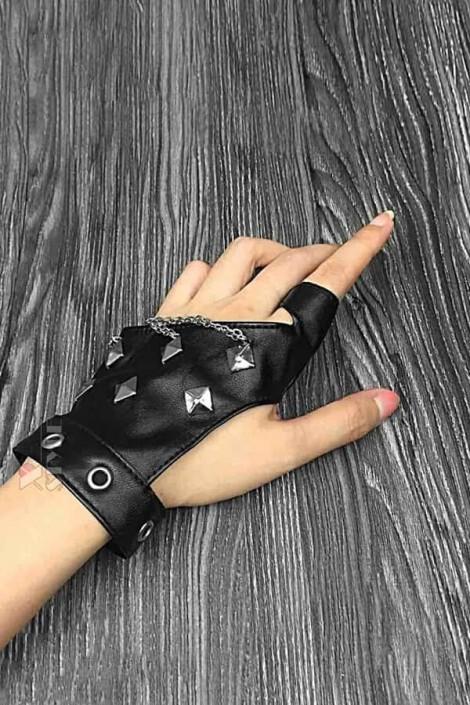 Женские кожаные перчатки без пальцев с цепями и клепками X1186 (601186)