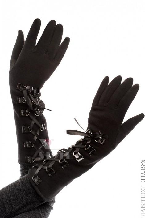 Длинные зимние перчатки со шнуровкой (601135)