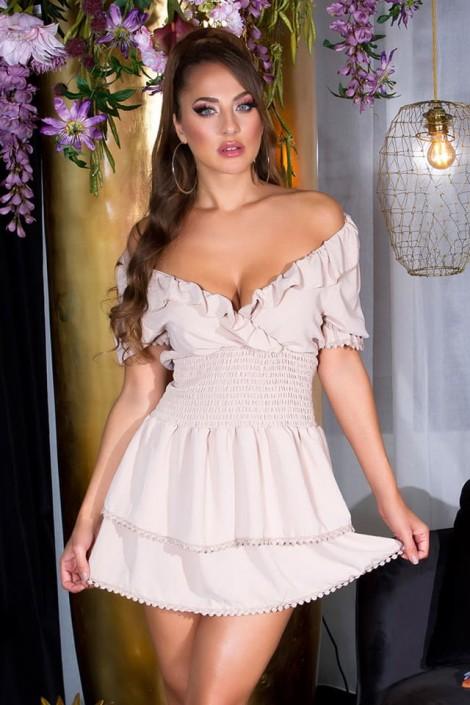 Кокетливое короткое платье с V-образным вырезом KC505 (105505)