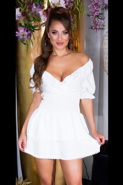 Сексапильное белое платье с глубоким вырезом KC507 (105507)