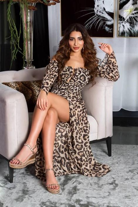 Длинное летнее леопардовое платье KC5511 (105511)