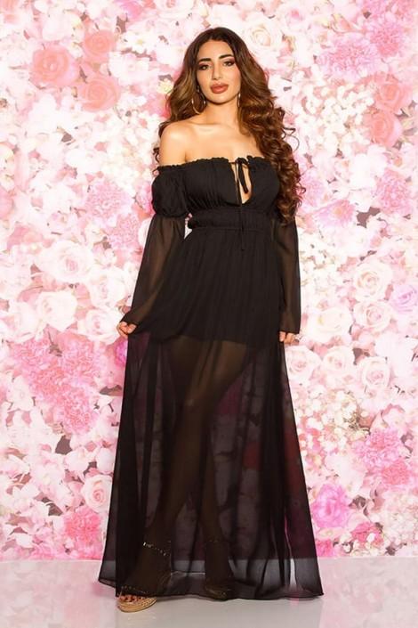 Длинное черное летнее платье KC5513 (105513)