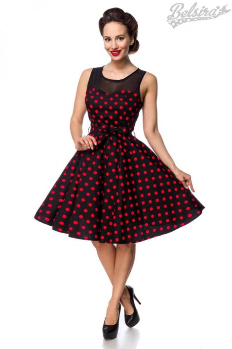 Платье в красный в горошек с сеточкой B5515 (105515)