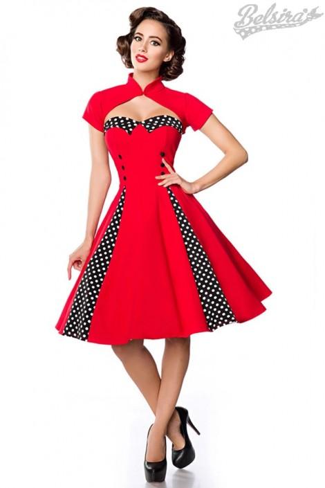 Красное ретро-платье с болеро (105257)