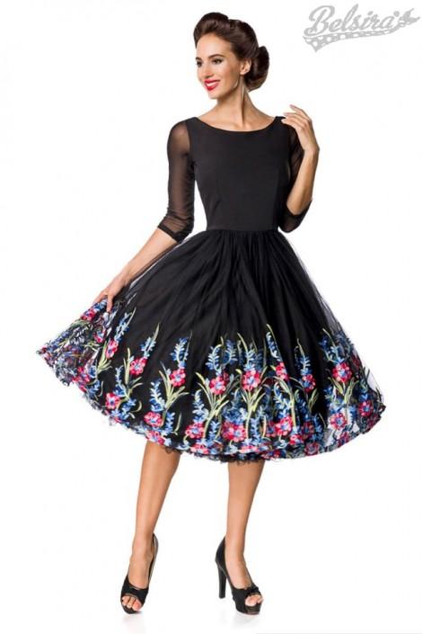 Винтажное платье с вышитой юбкой (105388)