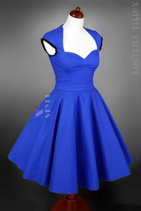 Винтажное платье с декольте и поясом (105050)