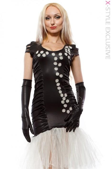 Вечернее платье с перчатками и вышивкой (105143)