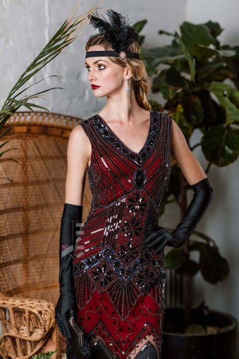 Платье с пайетками и бахромой в стиле 20-х XC299 (105299)