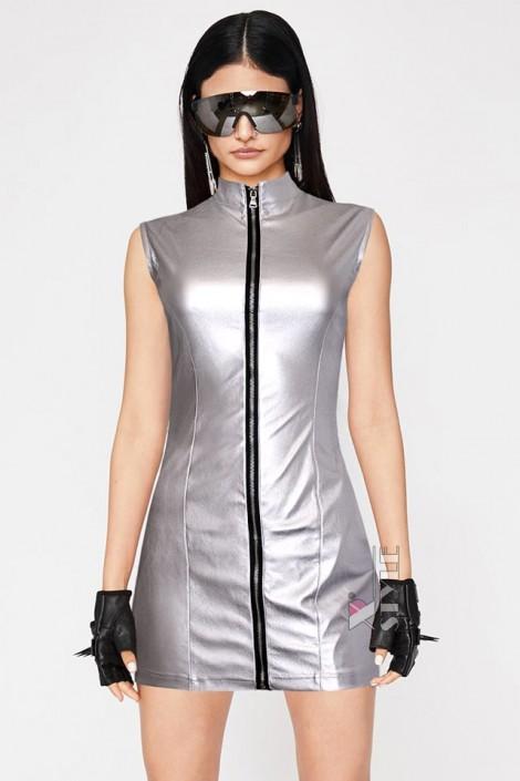 """Серебристое платье с эффектом """"металлик"""" X456 (105456)"""