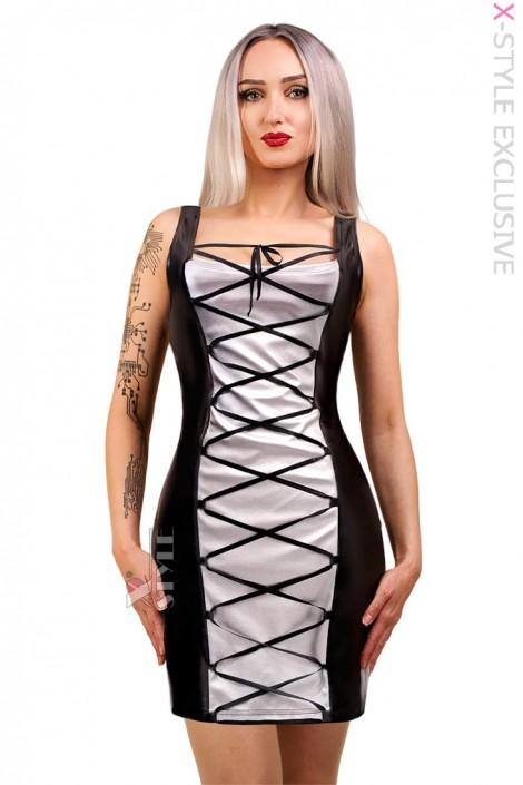 Кожаное платье со шнуровкой X5469 (105469)