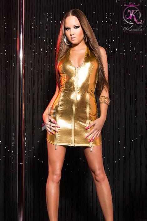 Блестящее золотистое платье KouCla (127164)