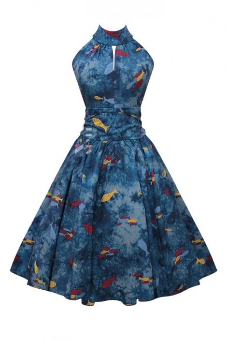 Винтажное платье с морским принтом X5491 (105491)