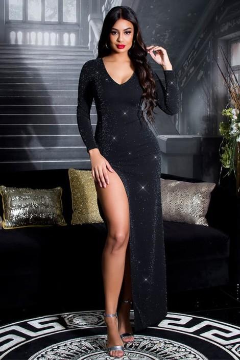 Длинное блестящее платье с разрезом KC5448 (105448)
