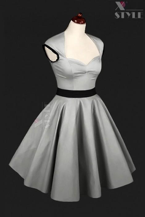 Винтажное серебристое платье с подъюбником X5163 (105163)