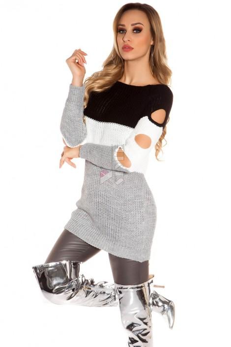 Платье-туника с прорезями на рукавах (105231)