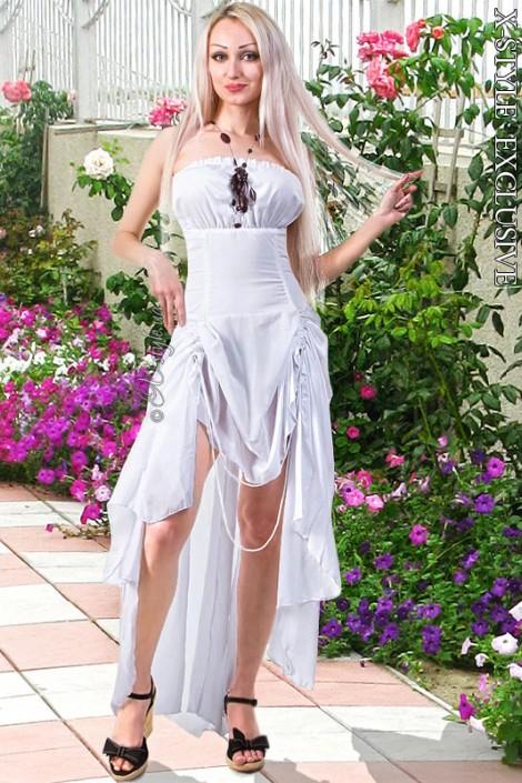 Белое платье с жемчугом (105060)