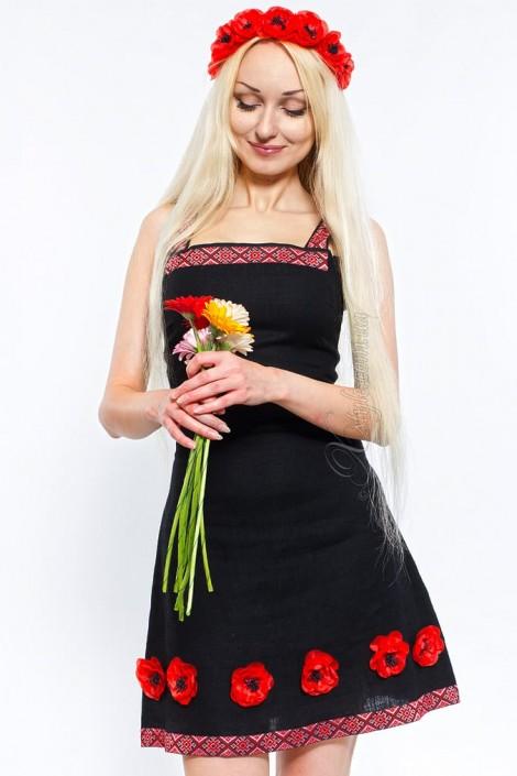 Льняное платье с цветами и вышивкой Xstyle (105126)