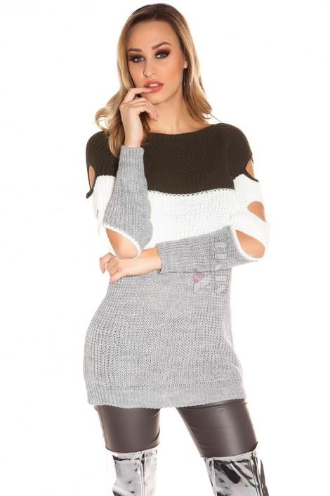 Акриловое платье-туника с прорезями (105233)