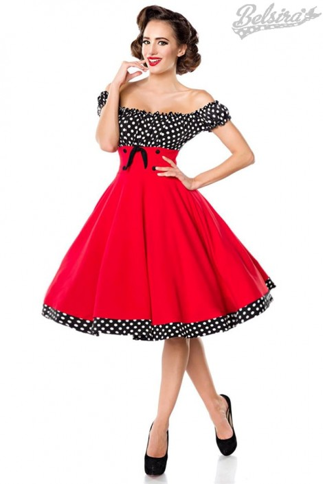 Красное платье с присборенным лифом (105248)