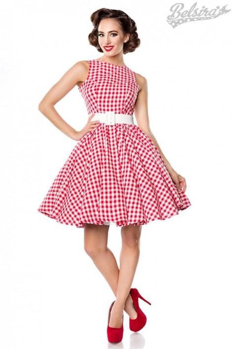 Винтажное платье в красную клетку (105252)