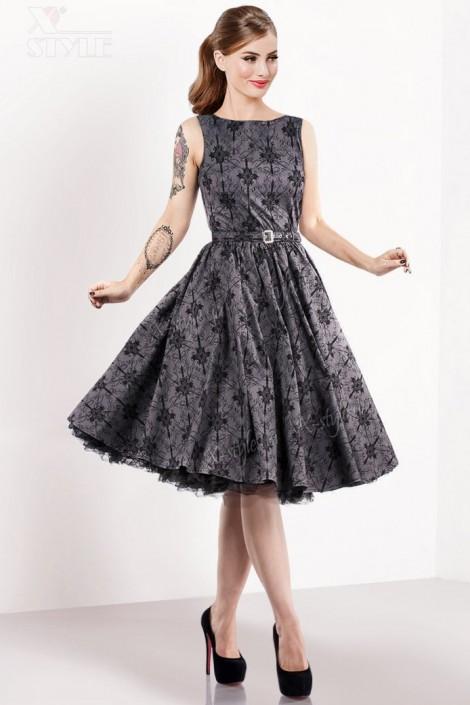 Винтажное платье из узорчатой ткани (105260)