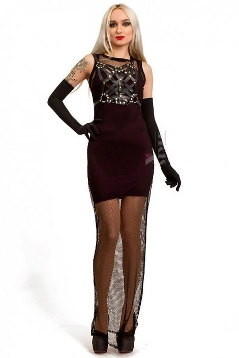 Длинное двусоставное платье с портупеей (105275)