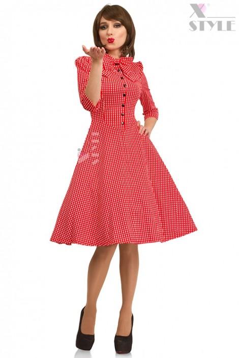 Красное клетчатое платье в стиле Ретро (105276)