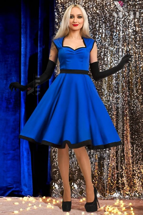 Платье в стиле Ретро (синий электрик) (105277)