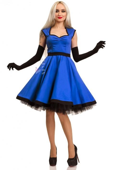 Хлопковое платье в стиле Ретро (электрик) (105277)
