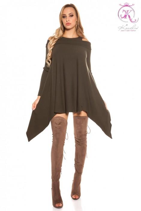 Трикотажное платье цвета хаки (105305)