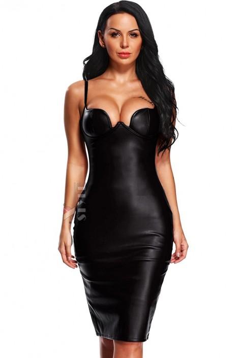 Кожаное платье с глубоким декольте XC53-09 (105309)