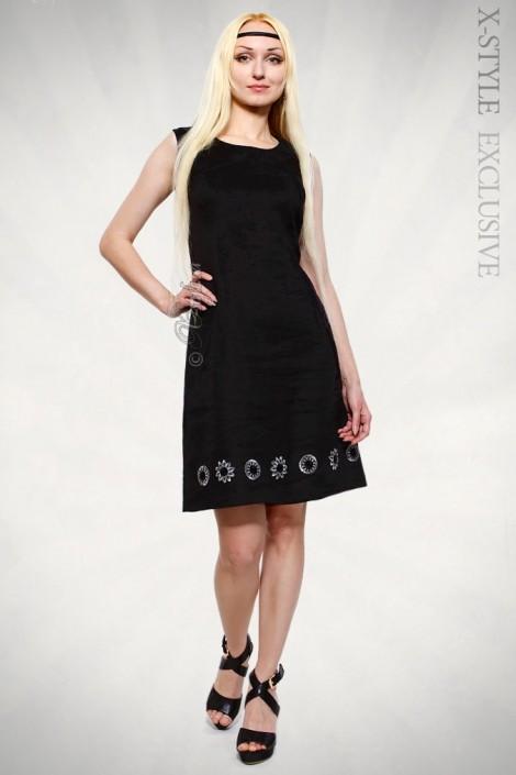 Льняное платье с вышивкой XT-130 (105130)