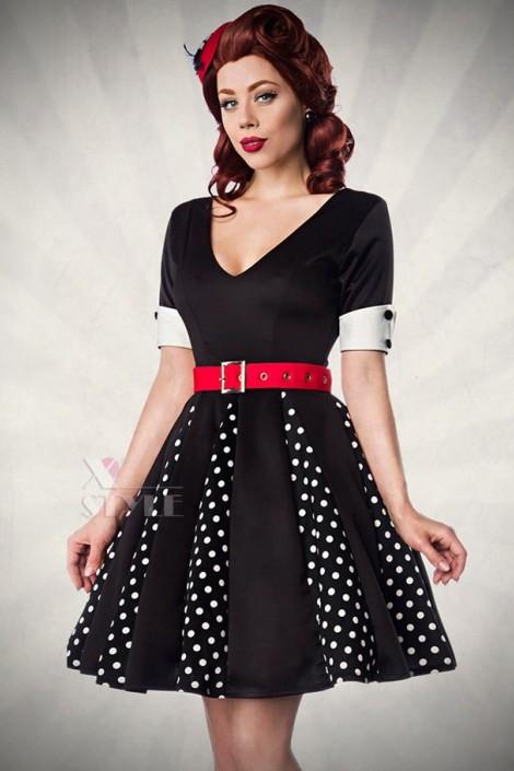 Ретро-платье с коротким рукавом (105180)