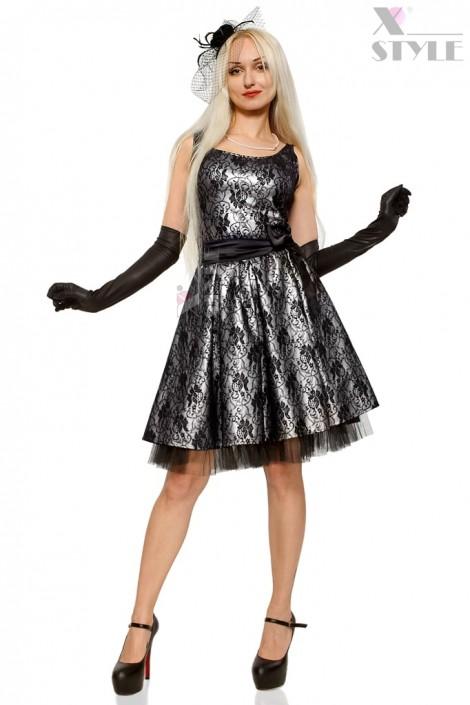 Нарядное платье с подъюбником, перчатками и поясом (105150)