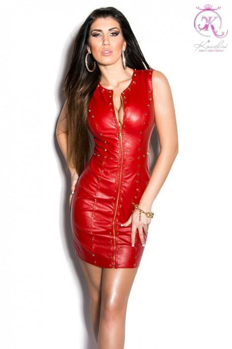 Красное шипованное платье под кожу (105382)