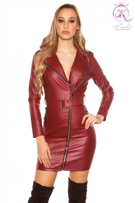 Бордовое платье под кожу KouCla (105397)