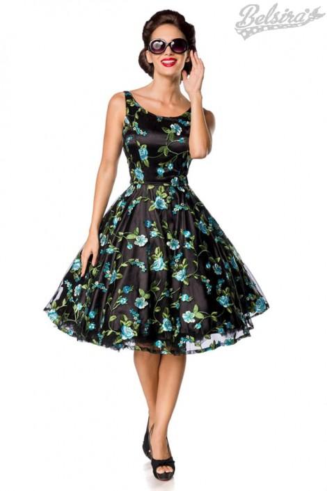 Винтажное платье с цветочным узором и вышивкой (105403)