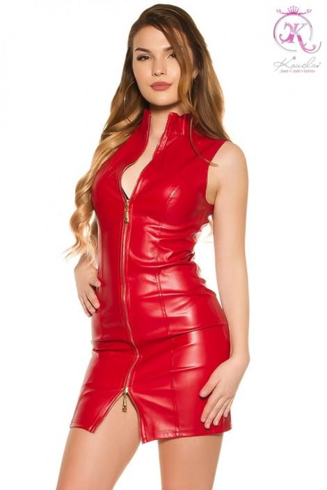 Красное кожаное платье на молнии KouCla (105414)