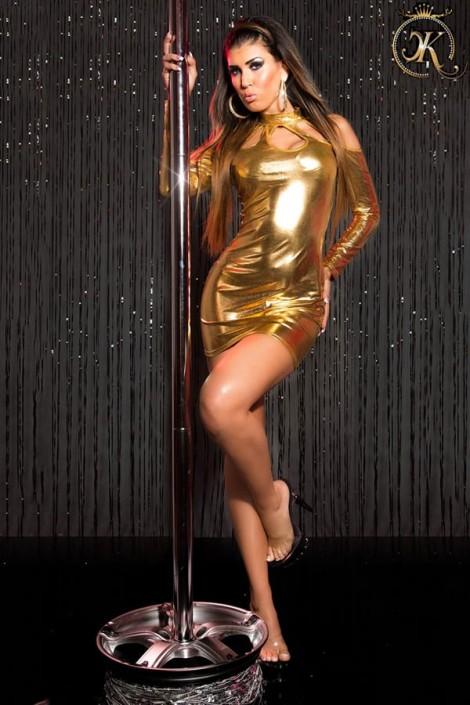 Короткое золотистое платье с декольте KouCla (127169)