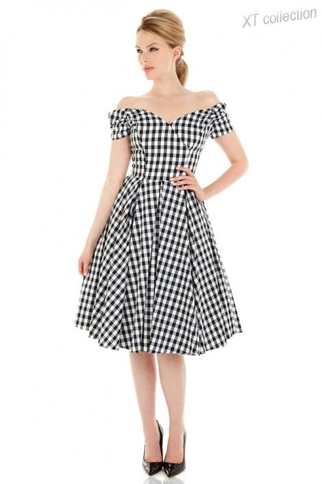 Ретро платье с открытыми плечами XC5325 (105325)