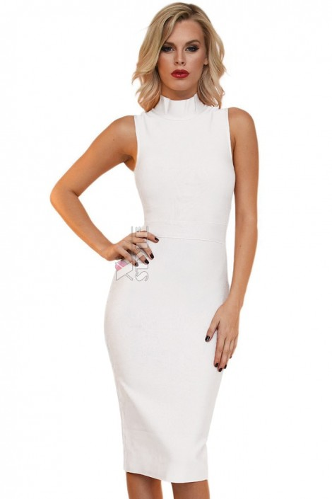 Бандажное белое платье миди XC5330 (105330)