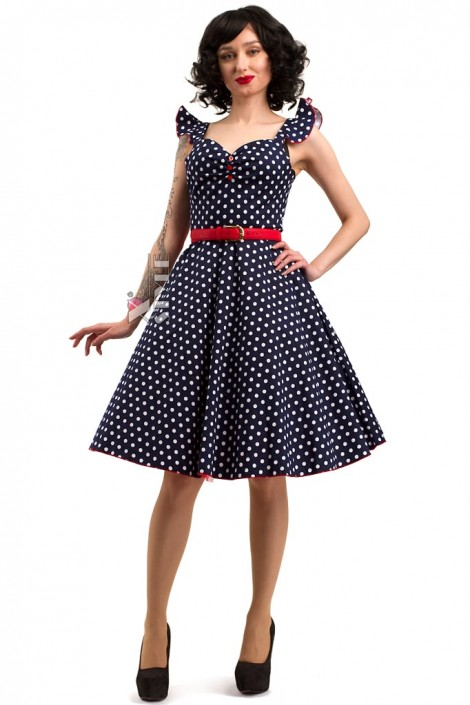 Синее ретро-платье в горошек X5354 (105354)