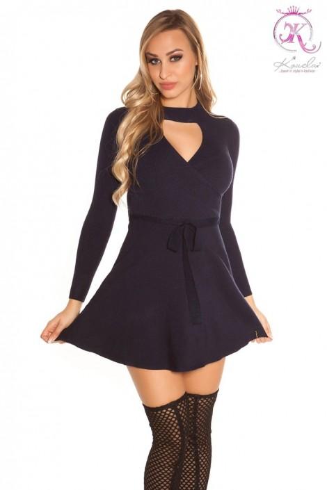 Короткое вязаное платье клеш KouCla (105370)