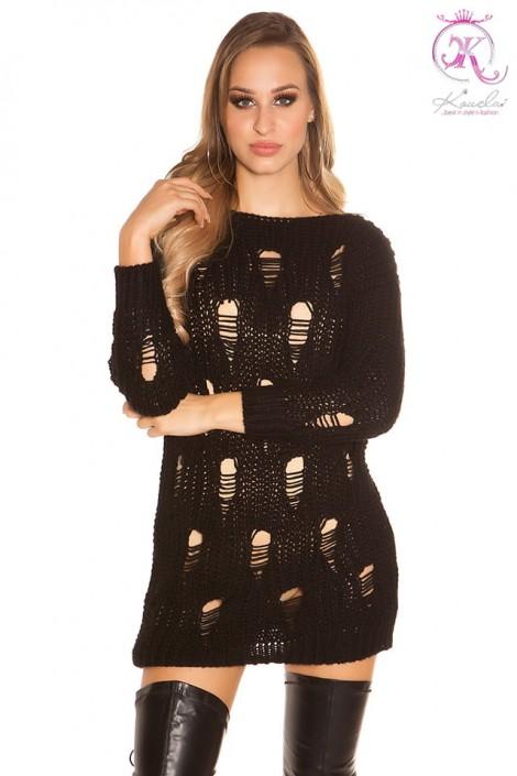 Рваный черный свитер-платье KouCla (105375)
